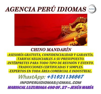 Intérpretes Chino Mandarín & Cantonés