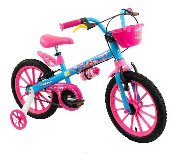 Bicicleta Infantil Aro 16 Candy Com Cesta E Garrafinha