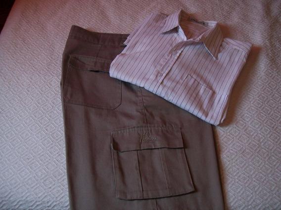 Pantalon Bermuda Hombre Set X 2 Productos Con Camisa M/c