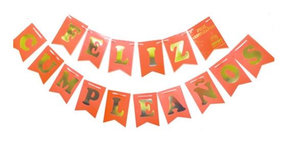 Banderín Feliz Cumpleaños Naranja Flúor - Ciudad Cotillón