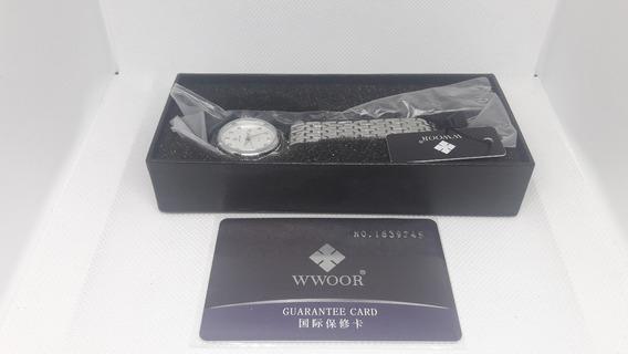 Relógio Feminino Wwoor Branco 8824b Quartz Original + Caixa