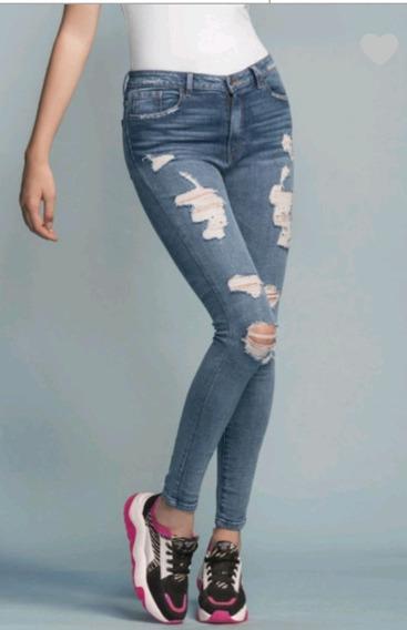Jeans De Mezclilla Rasgados Moda Skinny