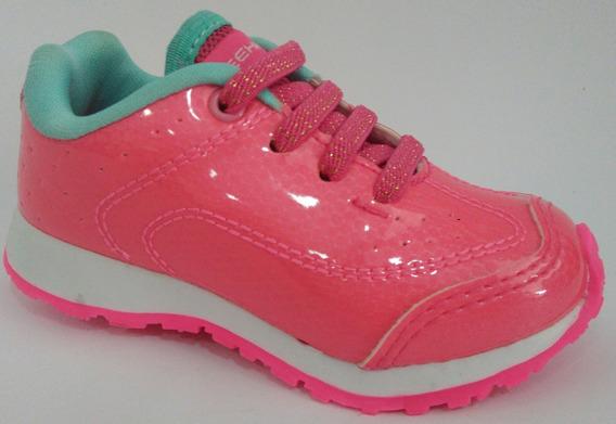 Tênis Bouts Infantil Pink E Verde Água Com Cadarço Elastico