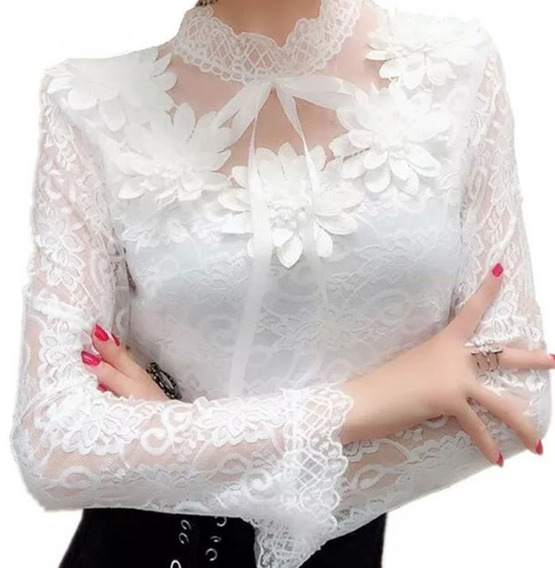 Camisa Feminina Blusa Manga Longa Social Plus Foto Real Luxo