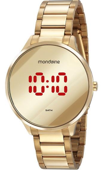 Relógio Feminino Mondaine Dourado Digital Led 32060lpmvde1