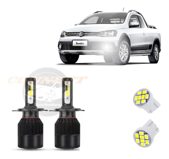 Kit Super Ultra Led 20000 Lm Farol De Milha Saveiro Cross