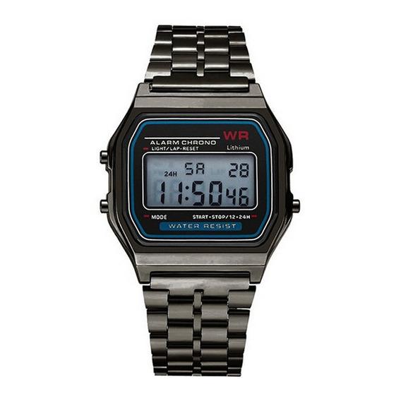 Relógio Retrô Preto/chumbo Clássico Unissex Promoção