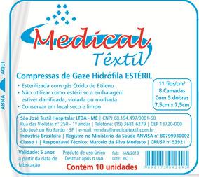 600 Envelopes De Compressa De Gaze Estéril 7,5x7,5 11 Fios