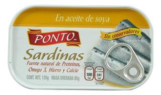 Sardinas Ponto En Aceite De Soya 120 Gr