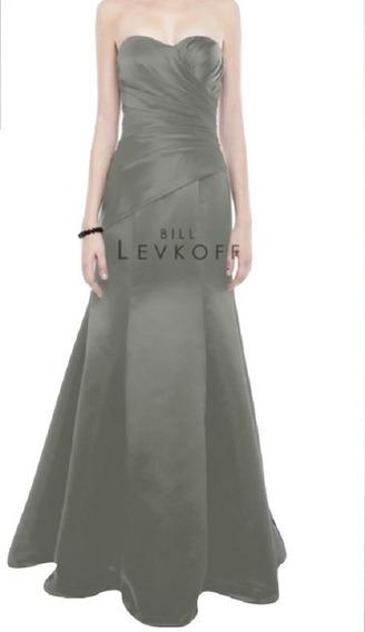 Elegante Vestido Strapless Largo De Fiesta Gris Oscuro