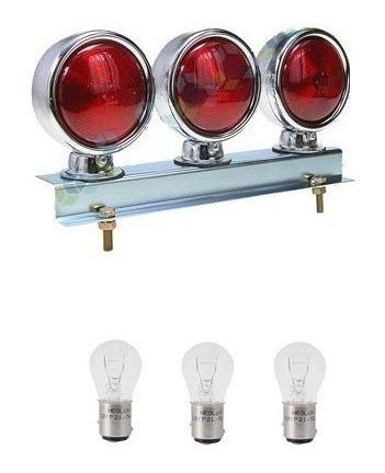 Conjunto Lanterna Cromada 3 Marias Vermelha + Lâmpadas 12v