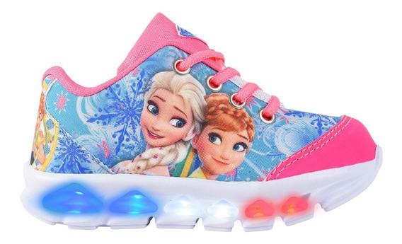 Tenis Led Luz Luzinha Frozen Infantil Meninas