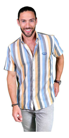 Camisa Porto Blanco Hombre Algodón Azul Manga Corta Mc-943