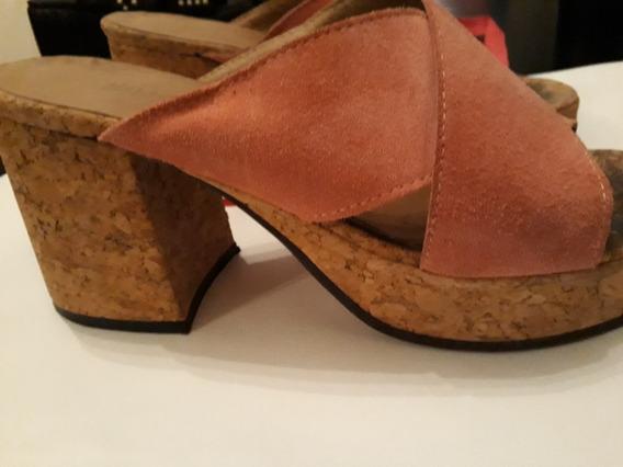 Zapatos Zuecos Gamuza Taco Madera Sarkany