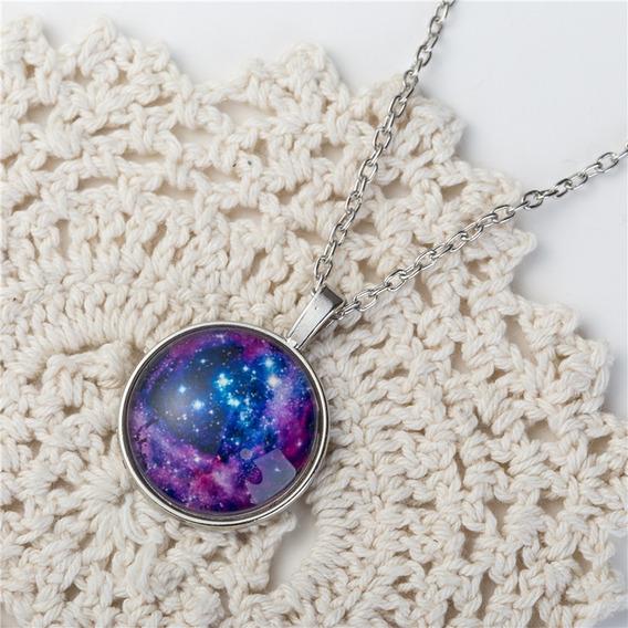 Colar Lua Universo Galáxia Nebulosa Modelo 29 E Brinde