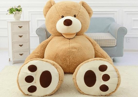 Urso Teddy Gigante Marrom Claro Pelúcia E Algodão Grande