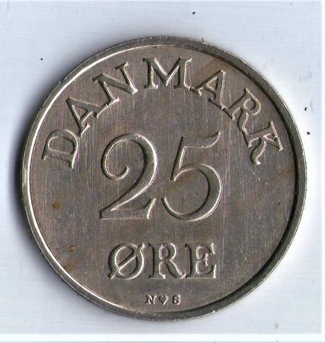 Moneda De Dinamarca  25 Ore 1954