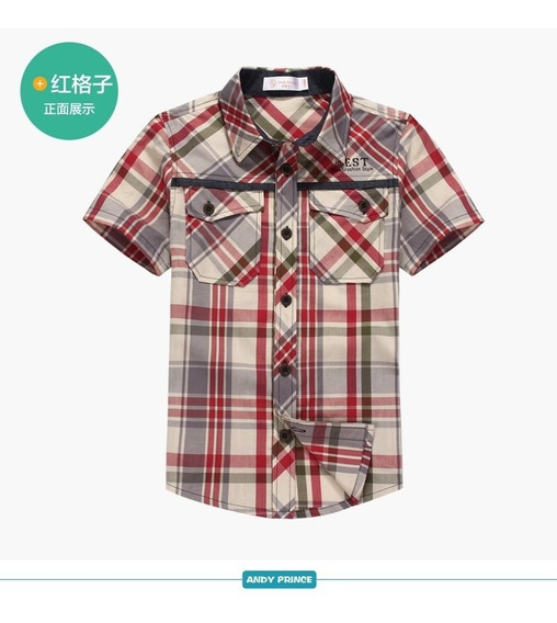 Camisa Infantil Masculina Manga Curta Xadrez 6 8 10 12 Anos