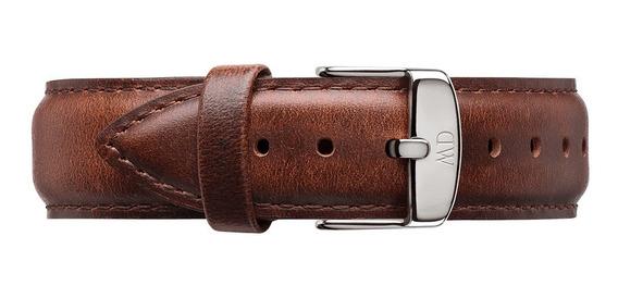 Daniel Wellington   Pulseira De Couro 20mm P/ Classic 40mm - Caixa Silver