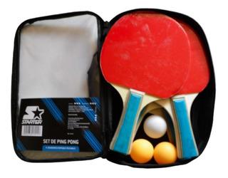 Set De Ping Pong Starter - 4 Raquetas + 3 Pelotas + Funda