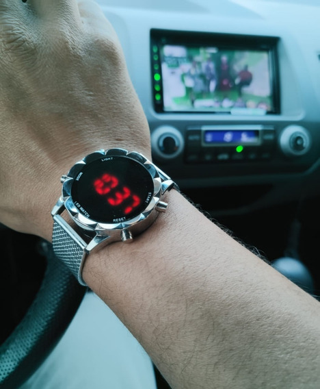 Relógio Digital Touch Led Vermelho Masculino Feminino Barato