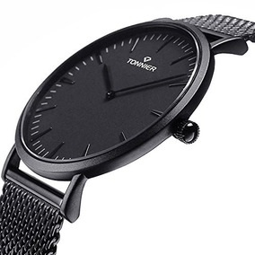 b18dd6d019af Reloj Tonnier Black Stainless Steel Slim Men Watch Quartz Wa