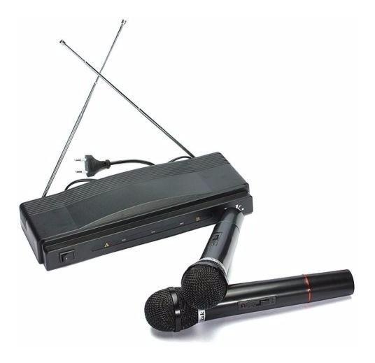Kit Microfone Sem Fio Duplo Fm E Receptor At-306 220 Volts