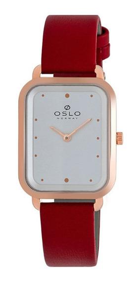 Relógio Feminino Slim Quadrado Rosê E Vermelho De Couro + Nf