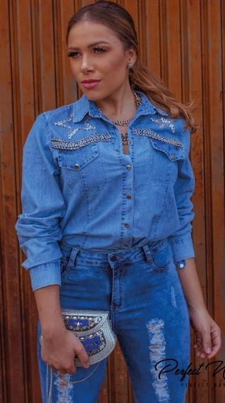 Camisa Jeans Estrela Com Bordados Perfect Way Tam P
