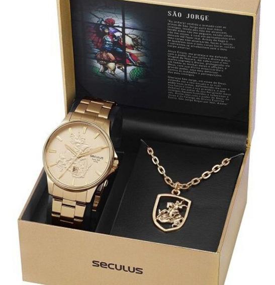 Relógio Masculino Seculus São Jorge Original 28933gpskda1k1