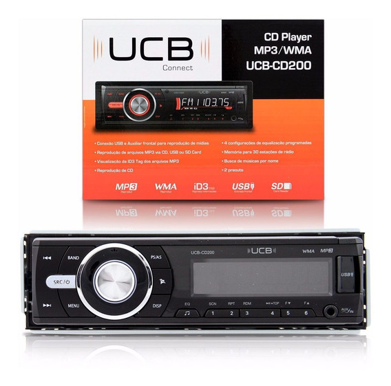Toca Cd Player Com Entrada Usb Sd Auxiliar Ucb-cd200