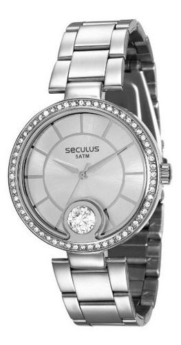 Relógio Seculus Feminino Prata Grande Barato Prova De Água