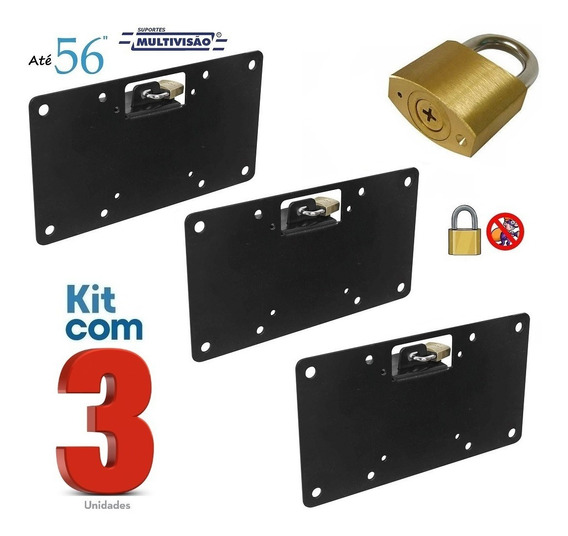 Kit 3 Suportes C/ Trava Antifurto P/ Tvs 14 A 56