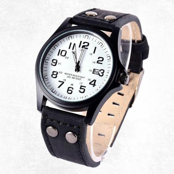 Relógio De Pulso Soki Quartzo Esportivo Couro Branco/preto