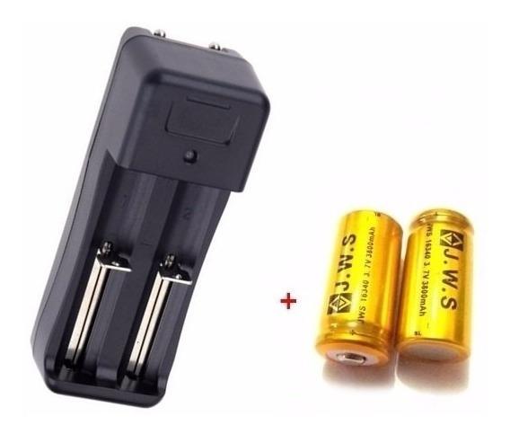 2 Baterias Gold 16340 Cr123a Recarregável + Carregador