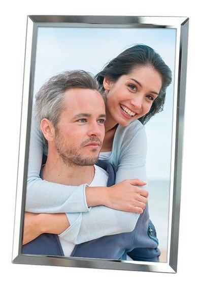 Porta Retrato/foto De Vidro E Espelho 13x18cm
