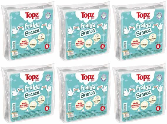 Fralda De Pano Basica Branca Cremer Topz Baby- Kit C/ 6 Emb.