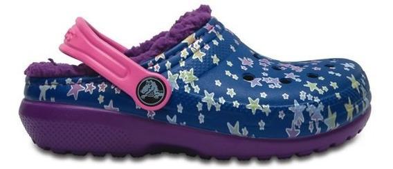 Zapato Crocs Niña Classic Lined Graphic Clog K Azul / Morado
