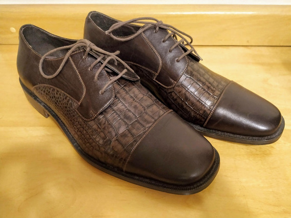 Sapato Marrom Social Croco Di Pollini