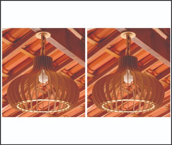 Kit Com 2 Luminárias Lustre Pendente Rústico 50cm