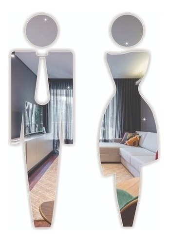 Acrílico Espelhado Decorativo Banheiro Feminino E Masculino