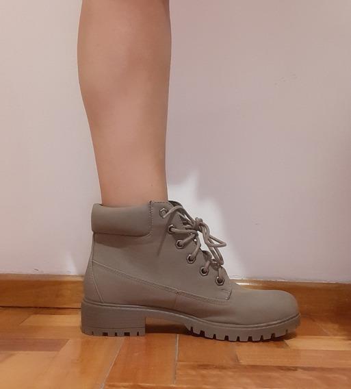 Borcegos Acordonados Bota Verde Zapato Botita Taco Bajo