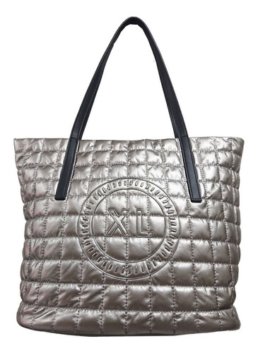 Tote Mujer Xl Extra Large Emilse Plateado