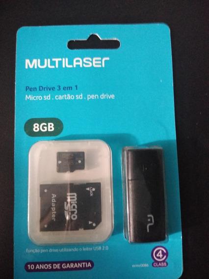 Cartão De Memoria Micro Sd + Cartão Sd + Pendrive 8 Gb