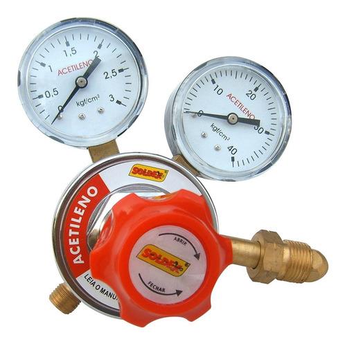 Regulador De Pressão Acetileno Com 2 Manômetros Soldex S-101