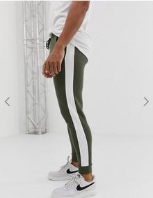 Calça Listrada Track Pants Moletom Fitness Masculina