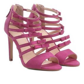 0808d0207d3 Sandália Couro Shoestock Salto Alto Laços Feminina