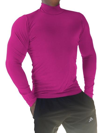 Blusa Gola Alta Clássica Masculina Viscolycra Rosa