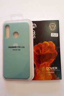 Funda Silicon Case Menta +glass Templado 9d Huawei P30 Lite