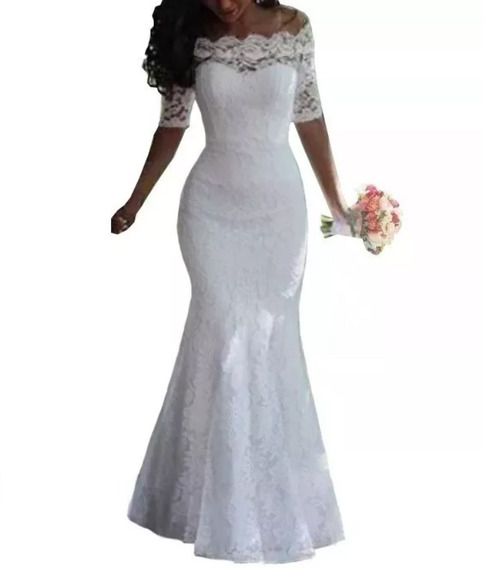 Vestido Longo Sereia Noiva, Casamento Civil 030